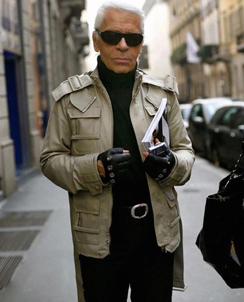 Карл Лагерфельд в куртке-сафари